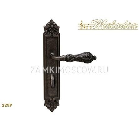 Дверная ручка на планке под фиксатор MELODIA mod.229 LIBRA WC античное серебро