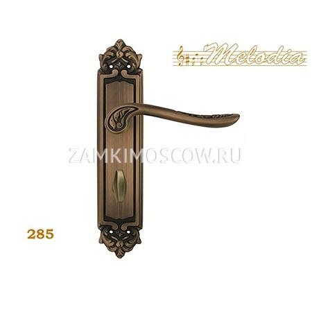 Дверная ручка на планке под фиксатор MELODIA mod. 285 DAISY WC матовая бронза