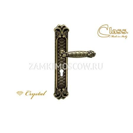 Дверная ручка на планке под цилиндр CLASS mod. 1090 Crystal CYL матовая бронза