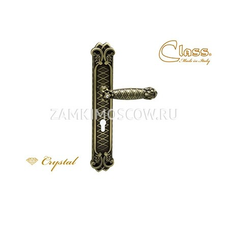 Дверная ручка на планке под цилиндр CLASS mod. 1060/1010 Crystal CYL матовая бронза + S