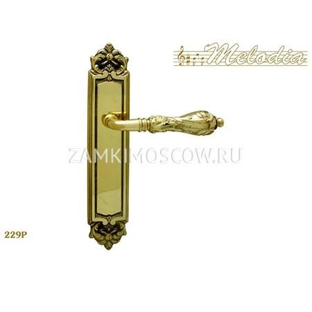 Дверная ручка на планке пустышка MELODIA mod.229 LIBRA PASS полированная латунь