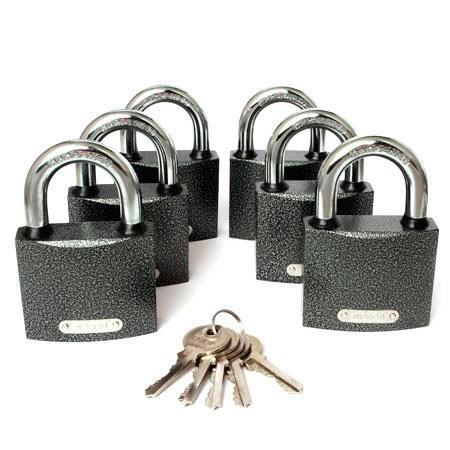 Замок навесной APECS PD-01-63 (6 Locks+5keys) серый 63 мм