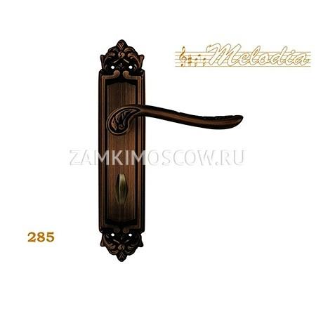 Дверная ручка на планке под фиксатор MELODIA mod. 285 DAISY WC затемненная бронза