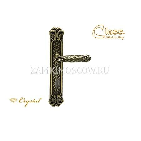 Дверная ручка на планке под фиксатор CLASS mod. 1060/1010 Crystal WC матовая бронза + S