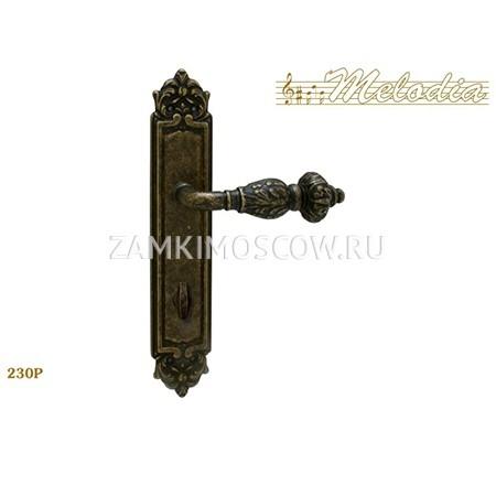 Дверная ручка на планке под фиксатор MELODIA mod.230 GEMINI WC античная бронза