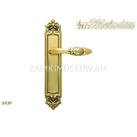 Дверная ручка на планке пустышка MELODIA mod.243 ROSA PASS полированная латунь