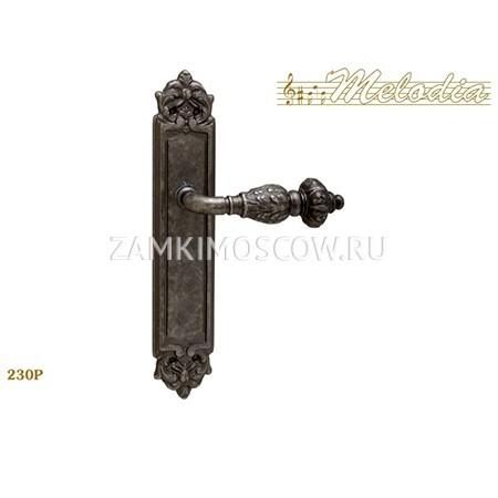 Дверная ручка на планке пустышка MELODIA mod.230 GEMINI PASS античное серебро