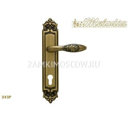 Дверная ручка на планке под цилиндр MELODIA mod.243 ROSA CYL матовая бронза
