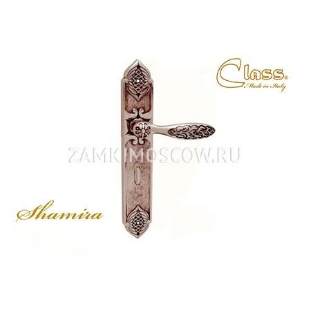 Дверная ручка на планке под фиксатор CLASS mod. 1060/1010 Sarrhire WC старинное серебро мат. + коричневый