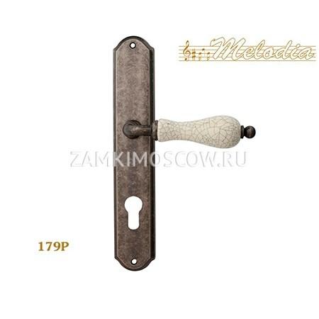 Дверная ручка на планке под цилиндр MELODIA mod.179/131 CERAMIC CYL античное серебро + керамика