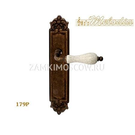 Дверная ручка на планке пустышка MELODIA mod.179 CERAMIC PASS античная бронза + керамика