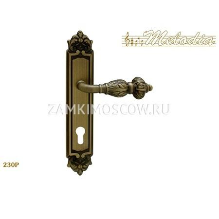 Дверная ручка на планке под цилиндр MELODIA mod.230 GEMINI CYL матовая бронза
