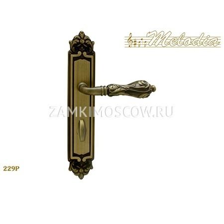 Дверная ручка на планке под фиксатор MELODIA mod.229 LIBRA WC матовая бронза