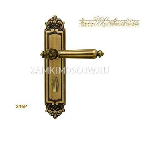 Дверная ручка на планке под фиксатор MELODIA mod. 246 NIKE WC матовая бронза