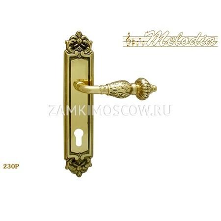 Дверная ручка на планке под цилиндр MELODIA mod.230 GEMINI CYL полированная латунь