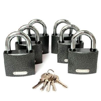 Замок навесной APECS PD-01-63 (6 Locks+5keys) серый 63 мм