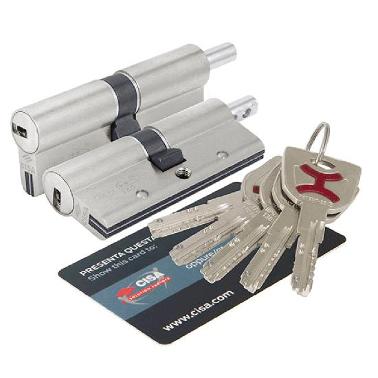 Цилиндр (личинка для замка) CISA AP4 OP3S2-82-0-12 (70мм/30*40) ключ вертушка