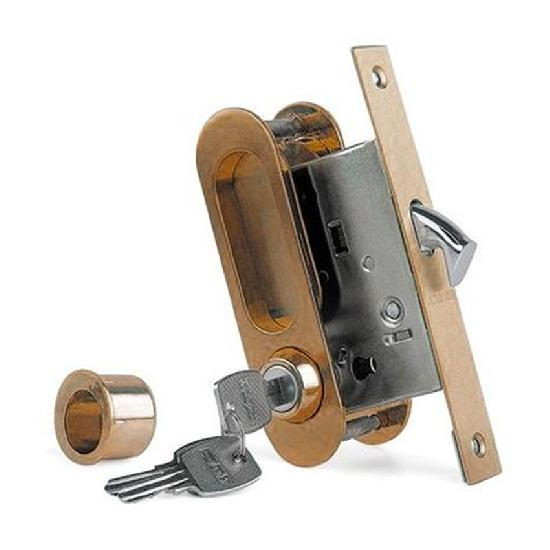 Замок для раздвижных дверей и шкафов-купе ARCHIE K01/02-V1 BB защелка, фиксатор, ключ (античная бронза)