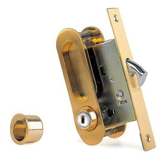 Замок для раздвижных дверей и шкафов-купе ARCHIE K01/02-V2II защелка, фиксатор (матовое золото)