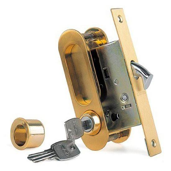Замок для раздвижных дверей и шкафов-купе ARCHIE K01/02-V1II защелка, фиксатор, ключ (матовое золото)